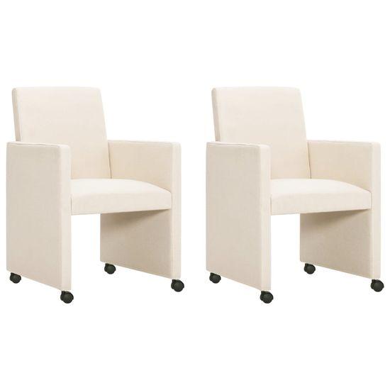 Vidaxl Jídelní židle 2 ks krémové textilní čalounění