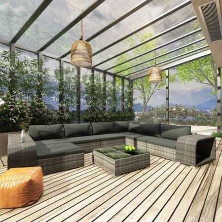 10-cz. ogrodowy zestaw wypoczynkowy, poduszki, rattan PE, szary