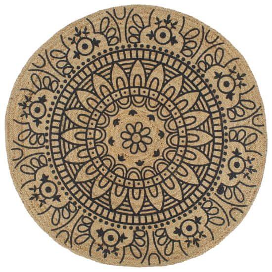 Ručne vyrobený jutový koberec s tmavomodrou potlačou 120 cm