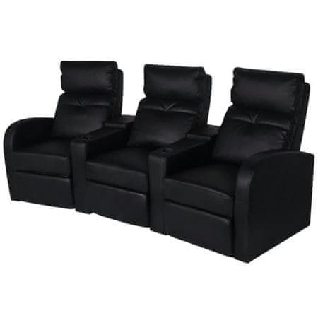 shumee 3 személyes fekete dönthető támlájú műbőr fotel