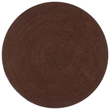 Ręcznie wykonany dywanik z juty, okrągły, 150 cm, brązowy