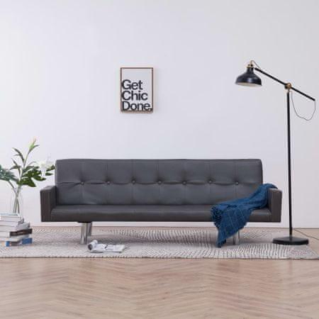 slomart Kavč z ležiščem in naslonjalom sivo umetno usnje