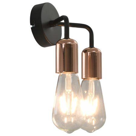 shumee Stenska svetilka z žarnicami 2 W črna in bakrena E27
