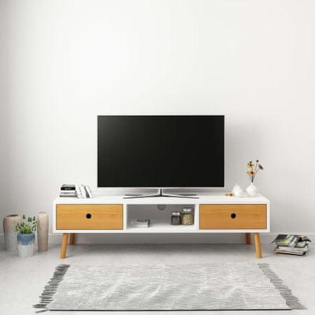 shumee fehér tömör fenyőfa TV-szekrény 120 x 35 x 35 cm