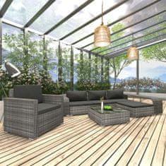 Vidaxl 8dílná zahradní sedací souprava s poduškami polyratan šedá