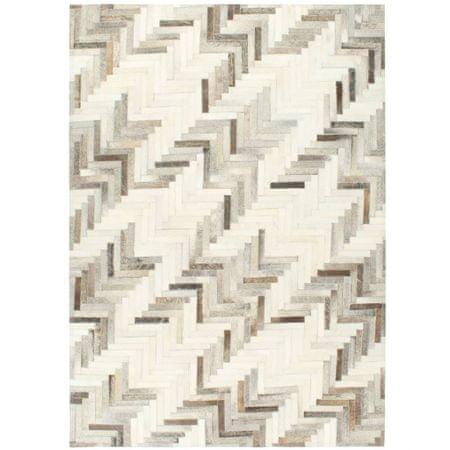 shumee szürke-fehér valódi foltvarrott szőrös bőrszőnyeg 120 x 170 cm