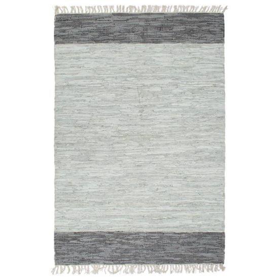 Ručne tkaný Chindi koberec sivý 120x170 cm kožený