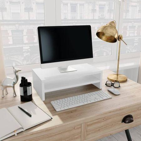 shumee Podstawka pod monitor, biała, 42x24x13 cm, płyta wiórowa