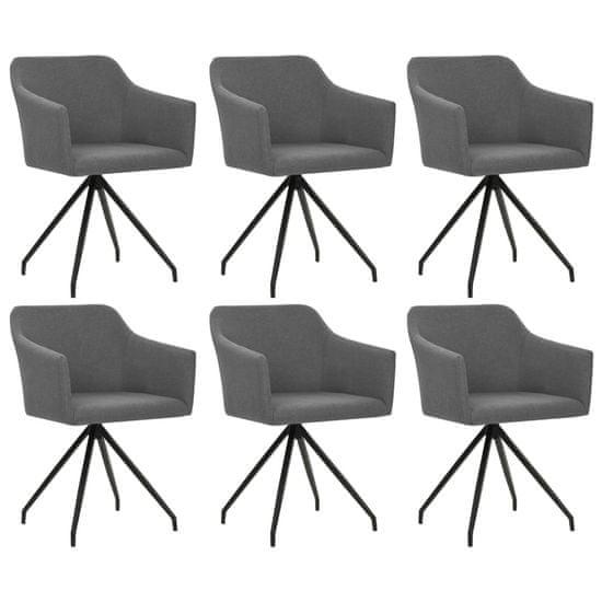 Vidaxl Otočné jídelní židle 6 ks světle šedé textil