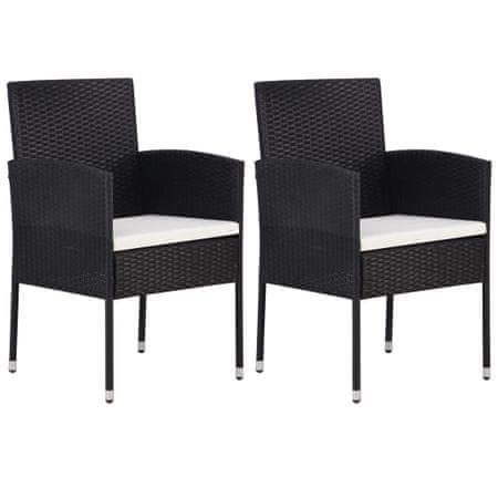shumee Vrtni stol 2 kosa poli ratan črne barve