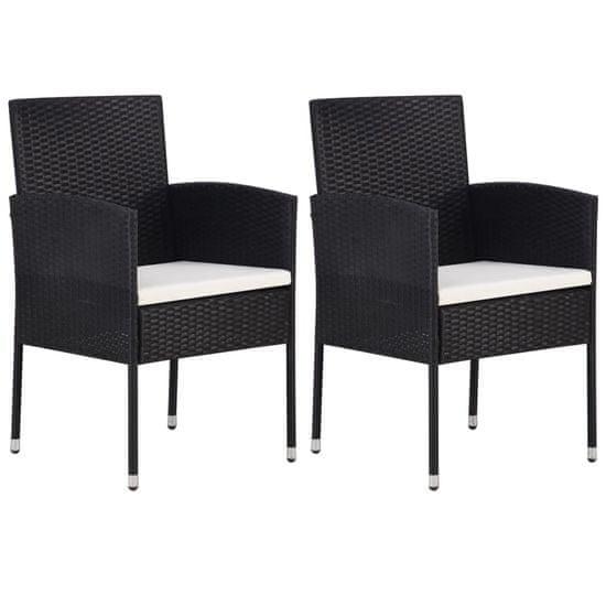 Záhradné stoličky 2 ks, polyratan, čierne