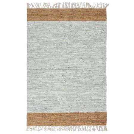 shumee Ročno tkana Chindi preproga iz usnja 120x170 cm siva in rjava