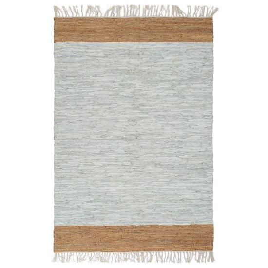 Ručne tkaný Chindi koberec svetlosivý a žltohnedý 190x280 cm kožený