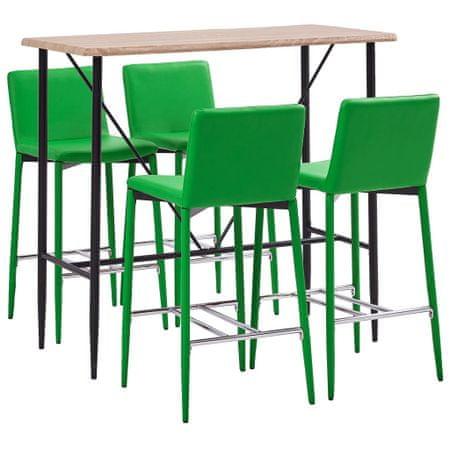 5-częściowy zestaw mebli barowych, sztuczna skóra, zielony