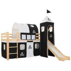Detská poschodová posteľ šmykľavka a rebrík borovica 97x208 cm
