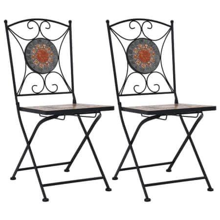 shumee Bistro stoli z mozaikom 2 kosa oranžni/sivi