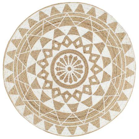 Ręcznie wykonany dywanik, juta, biały nadruk, 150 cm