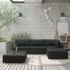 shumee 5-részes fekete polyrattan kerti bútorszett párnákkal