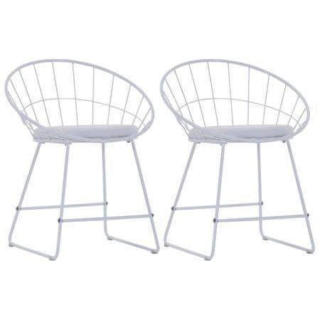 shumee Jedilni stoli s sedeži iz umetnega usnja 2 kosa belo jeklo