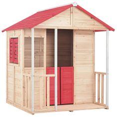 Domek do zabawy dla dzieci, drewno jodłowe, czerwony