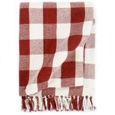 shumee Deka, bavlna, kockovaná 125x150 cm, rubínovo červená