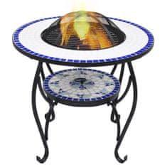 shumee Mozaikowe palenisko ze stolikiem, niebiesko-białe, 68 cm