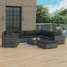 shumee 8-cz. zestaw wypoczynkowy do ogrodu, poduszki, rattan PE, szary