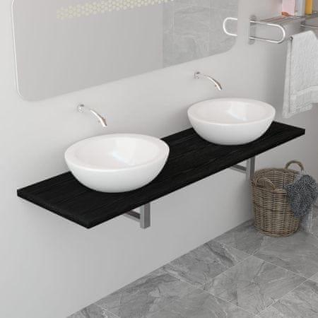 shumee Mebel łazienkowy, czarny, 160 x 40 x 16,3 cm