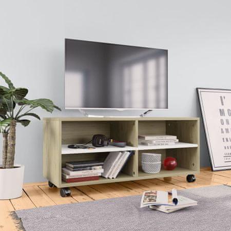 shumee fehér-sonoma forgácslap TV-szekrény görgőkkel 90 x 35 x 35 cm