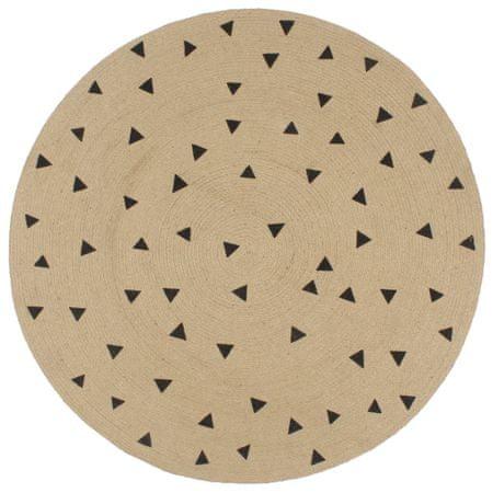 Ręcznie wykonany dywanik, juta, nadruk w trójkąty, 90 cm