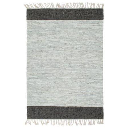 Ręcznie tkany dywanik Chindi, skóra, 190x280 cm, szaro-czarny