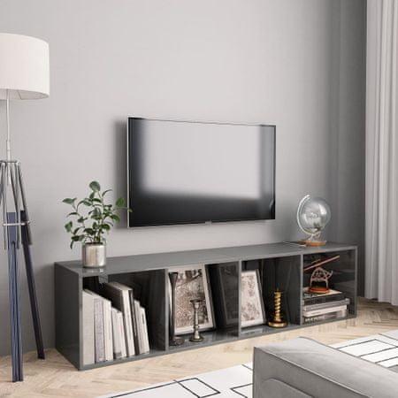 shumee magasfényű szürke könyv-/TV-szekrény 143 x 30 x 36 cm