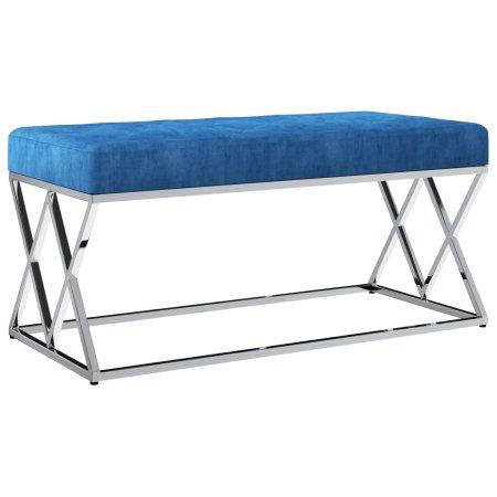 shumee kék bársonyszövetű rozsdamentes acélpad 97 cm