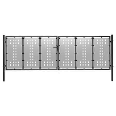 shumee ezüstszínű acél kertkapu 400 x 100 cm
