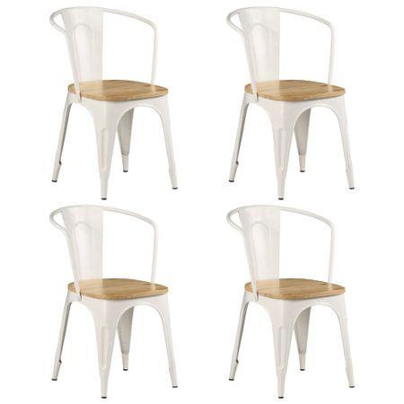 slomart Jedilni stoli 4 kosi beli iz trdnega mangovega lesa