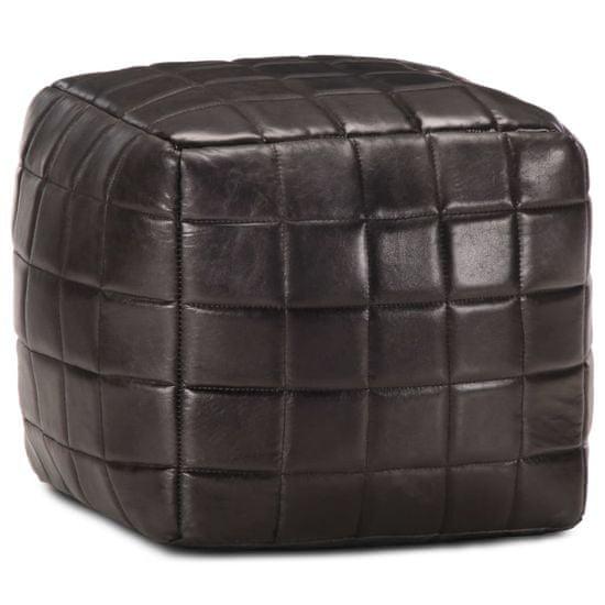 Taburetka čierna 40x40x40 cm pravá kozia koža
