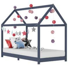 Detský posteľný rám sivý 80x160 cm borovicový masív