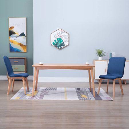 shumee Krzesła stołowe, 2 szt., niebieskie, tkanina i lity dąb