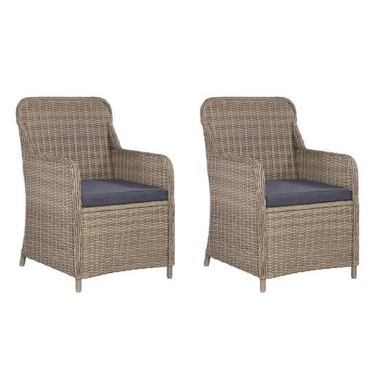 shumee Zahradní židle 2 ks s poduškami polyratan hnědé