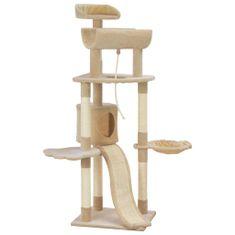Drapak dla kota ze słupkami sizalowymi, beżowy, 145 cm