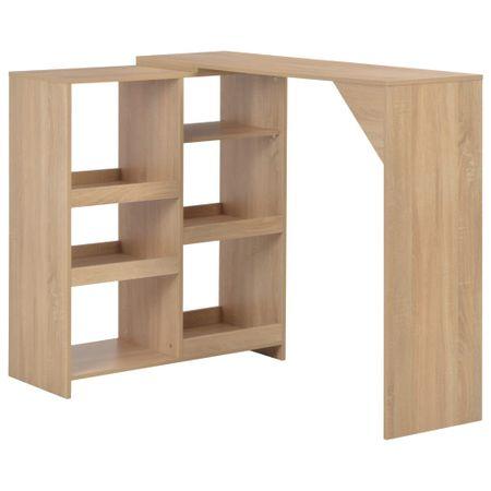shumee tölgyszínű bárasztal mozgatható polccal 138 x 40 x 120 cm