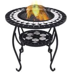 shumee Mozaikowe palenisko ze stolikiem, czarno-białe, 68 cm, ceramika