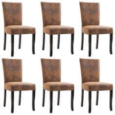 Jedálenské stoličky 6 ks, hnedé, umelý semiš