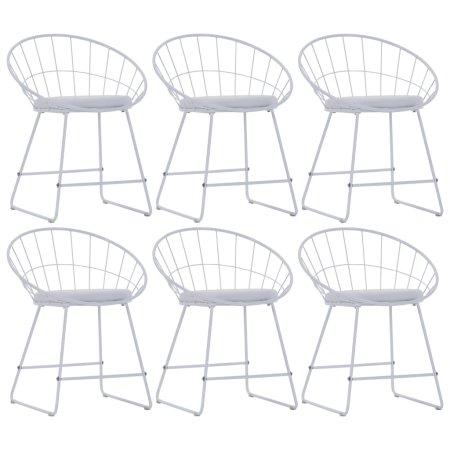 slomart Jedilni stoli s sedeži iz umetnega usnja 6 kosov belo jeklo