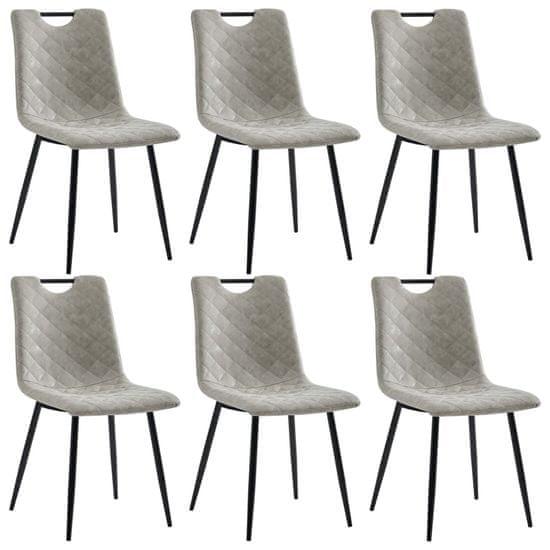 Jídelní židle 6 ks šedé umělá kůže