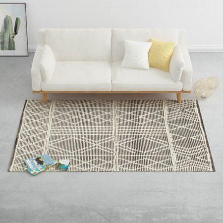 shumee Dywan ręcznie tkany, wełna, 140x200 cm, czarny/biały