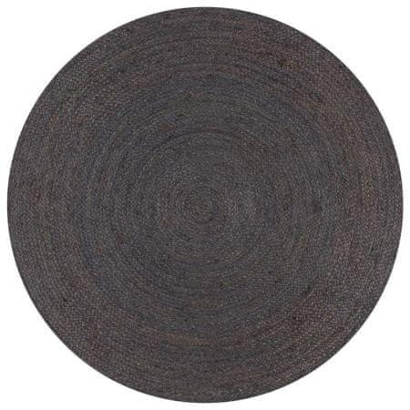 Ręcznie wykonany dywan z juty, okrągły, 150 cm, ciemnoszary