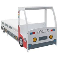 Łóżko dziecięce samochód policyjny, materac, 90x200 cm, H2 H3