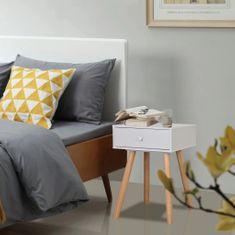 shumee Noční stolek, 2 ks, masivní borovice, 40x30x61 cm, bílý