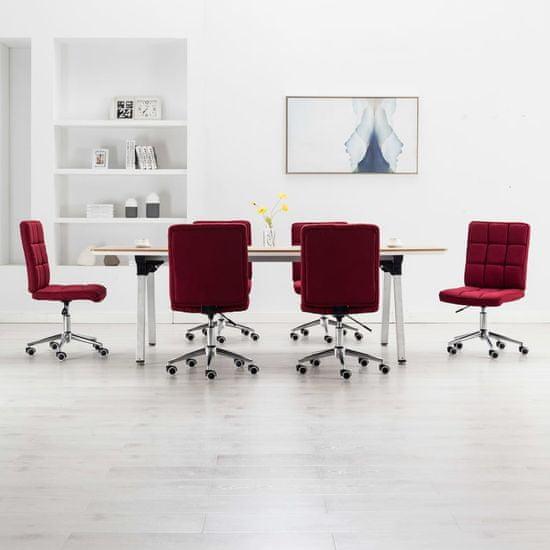 Jedálenské stoličky 6 ks, vínovo červené, látka